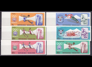 Togo 1967, Michel Nr. 626-31 B, Olympische Sommerspiele Mexiko Satz ungezähnt