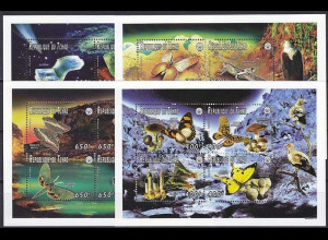 Tschad 1996, Michel Nr. 1395-10 Klbg., Naturkunde Mineralien, Schmetterlinge