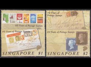 Singapur Singapore 1990, Michel Nr. 594-97, 150 Jahre Briefmarken