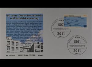 Bund BRD Ersttagsbrief FDC, Nr. 2865, Industrie- und Handelskammertag, IHK 2011