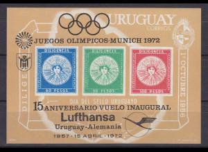 Uruguay 1972, Block 15, Lufthansa-Verbindung. Uruguay - Deutschland.