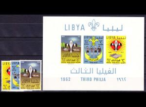 Libyen Libya 1962, Michel Nr. 122-24 + Block 4, Die libyschen Pfadfinder