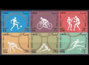 Libyen Libya 1964, Michel Nr. 160-65, Olympische Spiele Tokio ungezähnt