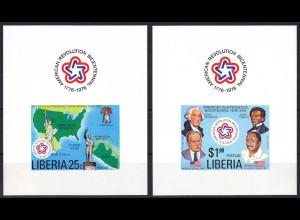 Liberia 1976, Michel Nr. 1013-14 BL, 200 Jahre Unabhängigkeit der USA