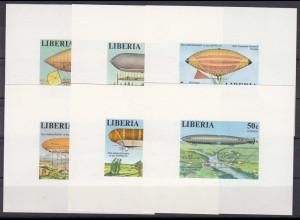 Liberia 1978, Michel Nr. 1054-59 BL, 75 Jahre Zeppelin - Luftschiffe