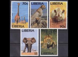 Liberia 1995, Michel Nr. 1624-28, Afrikanische Tiere
