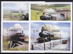 Liberia 1988, Michel Nr. Block 115-18, Lokomotiven