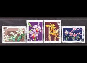 Taiwan Formosa 1958 Michel Nr. 288-91, Orchideen
