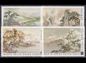 Taiwan Formosa 1982, Michel Nr. 1474-77, Gemälde zu klassischen Gedichten