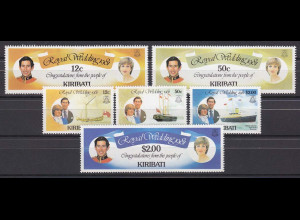 Kiribati 1981, Michel Nr. 371-76, Hochzeit Prinz Charles und Lady Diana.