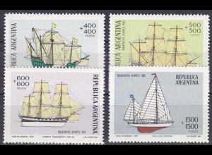 Argentinien Argentina 1979, Michel Nr. 1405-8, Segelschiffe