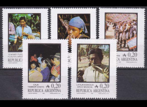 Argentinien Argentina 1985, Michel Nr. 1765-69, Folklore: Musikinstrumente