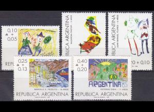 Argentinien Argentina 1986, Michel Nr. 1819-23, Kinderzeichnungen