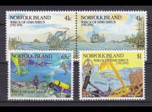 Norfolk 1990, Michel Nr. 476-79, HMS Sirius-Segelschiff. 200 Jahre Schiffbruch