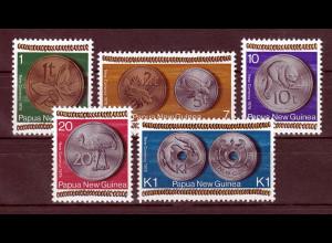 Papua Neuguinea Papua New Guinea 1975, Michel Nr. 283-87, neue Währung