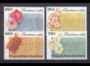 Papua Neuguinea Papua New Guinea 1989, Mi. Nr. 606-09, Weihnachten - Blüten.