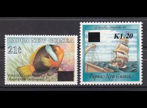 Papua Neuguinea Papua New Guinea 1994 Mi. Nr. 706-07 Freimarken mit Aufdruck.