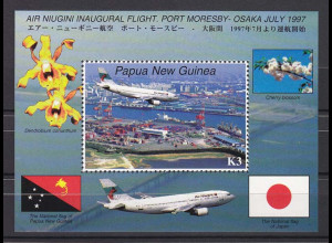 Papua Neuguinea 1997, Block 13, Flugzeuge. Erstflug Port Moresby/Osaka.