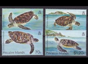 Pitcairn 1986, Michel Nr. 274-77, Schildkröten, Schuppenschildkröte ...