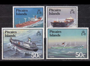 Pitcairn 1987, Michel Nr. 289-92, Schiffe, Frachtschiff, Containerschiff