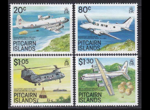 Pitcairn 1989, Michel Nr. 342-45, Luftfahrzeuge, Hubschrauber, Flugzeug