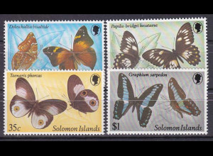 Salomoninseln Solomon Islands 1982, Nr. 455-58, Schmetterlinge, u. a. Taenaris