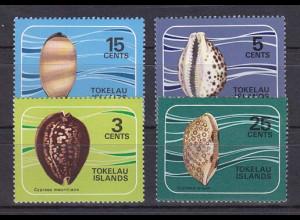 Tokelau 1974, Michel Nr. 34-37, Porzellanschnecken, Cypraea tigris