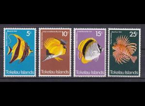 Tokelau 1975, Nr. 38-41, Fische des Korallenriffs, Halfterfisch, Rotfeuerfisch