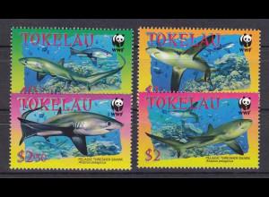 Tokelau 2002, Michel Nr. 322-25, Weltweiter Naturschutz - WWF, Abb.: Fuchshai