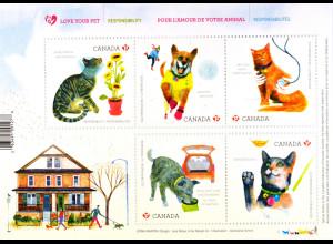 Kanada Canada 2015 Block 214 Haustiere - Hunde und Katzen