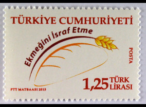 Türkei Turkey 2015 Michel Nr. 4150 Gegen die Brotverschwendung