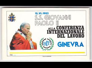 Vatikan, Papstreisebelege - Papst Johannes Paul II 15.06.1982 - Genf Folder