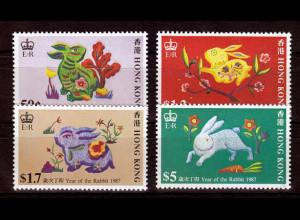 Hongkong 1987, Michel Nr. 499-502, Chinesisches Neujahr. Jahr des Hasen.