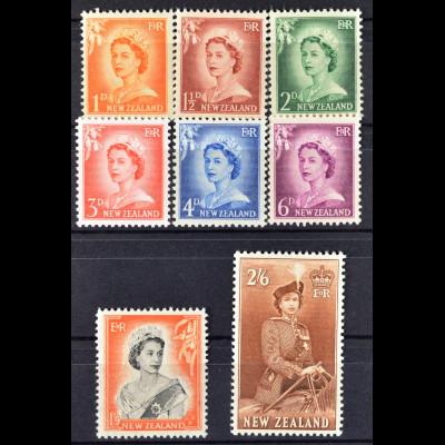Neuseeland, FM Elisabeth II aus den Jahren 1955/57, 2 kpl. Sätze, siehe Bilder
