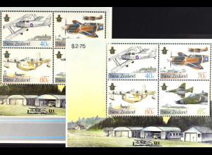 Neuseeland New Zealand 1987, Militärflugzeuge, 2 Blockausgaben, siehe Bilder