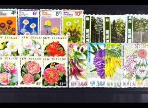 Neuseeland, Einheim. Flora aus den Jahren 1972-99, 4 kpl. Sätze, siehe Bilder