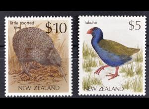 Neuseeland New Zealand, FM Vögel aus den Jahren 1988+89, 2 Werte, siehe Bilder