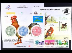 Neuseeland, Ausgaben zu Briefmarkenausstellungen 1970 -1993, siehe Bilder