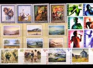 Neuseeland, Gemälde und Kunst aus den Jahren 1973 - 1998, 4 Sätze, siehe Bilder
