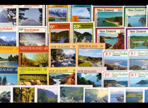 Neuseeland, Landschaften aus den Jahren 1973-86, 9 komplette Sätze, siehe Bilder