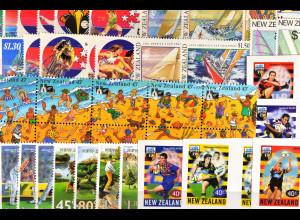 Neuseeland, Sportausgaben aus den Jahren 1987 - 99, 7 kpl. Sätze, siehe Bilder