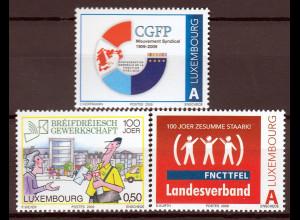 Luxemburg 2009 Michel Nr. 1821-23 Gewerkschaften Eisenbahner Briefträger