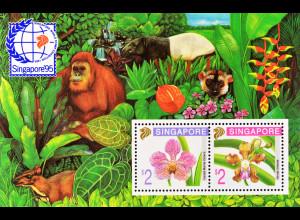 Singapur 1995, Block 33 A, Orchideen, Vanda Marlie Dolera und Vanda limbata