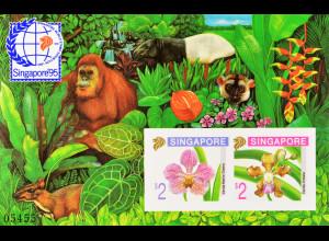Singapur 1995, Block 33 B, Orchideen, Vanda Marlie Dolera und Vanda limbata