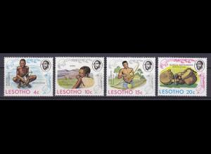 Lesotho 1975, Nr. 174-77, Traditionelle Musikinstrumente, Mamokhorong, Lesiba ..