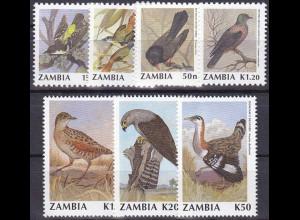 Sambia 1990, Michel Nr. 528-35, Vögel