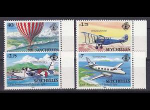 Seychellen, Nr. 535-38, 200 Jahre Luftfahrt, Gumman Albatros, Swearingen Merlin