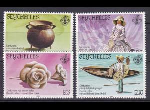 Seychellen, Nr. 550-53, Handwerk: Gefäß aus Kokosnüssen, Puppe, Boot & Puppe