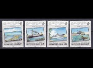Seychellen, Nr. 554-57, Zeitung Lloyd's List, Hafen bei Viktoria, Wrack der RFA