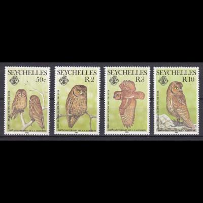Seychellen Nr. 575-78 Nacktbeineule, v. amerik.Tierzeichner John James Audubon